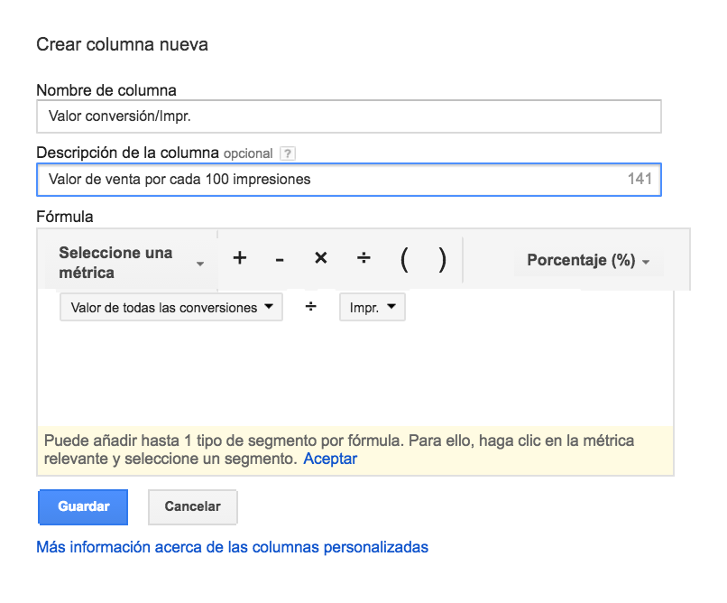 columnas de adwords